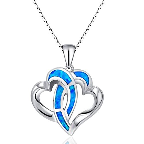 (Sinlifu Charm Double Heart Blue Tone Silver Necklace Synthetic Opal Pendant For Girls Lady Women)
