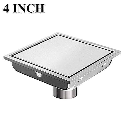 (Ushower Square Drain for Shower 4 Inch, Invisile Square Floor Drain Tile Insert, Bathroom Drain Square Brushed Nickel with Hair Strainer for Bathroom Kitchen Basement)