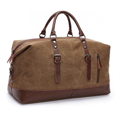 JSBKY Weekender Overnight Bag Canvas Leather Travel Duffel Tote Hospital bag (coffee) Review