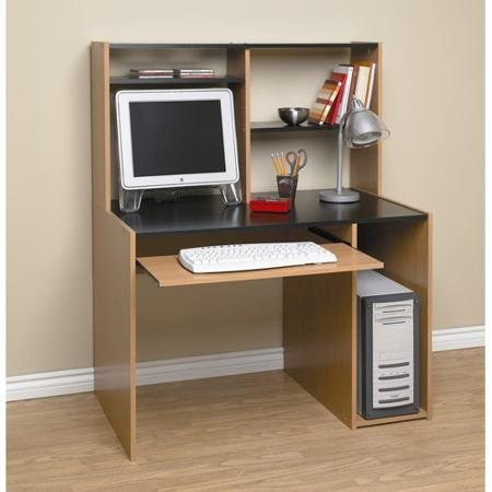 Orion Computer Desk With Hutch, Black and Oak by ORION