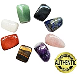 Chakra Stones Healing Crystals Set of 8, Tumbled and Polished, for 7 Chakras Balancing, Crystal Therapy, Meditation, Reiki, or as Thumb Stones, Palm Stones, Worry Stones