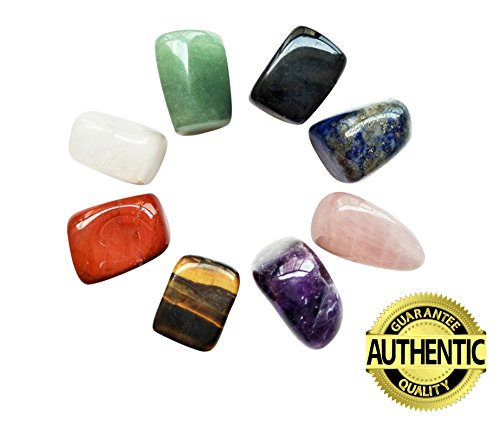 Chakra Stones Healing Crystals Set of 8, Tumbled and Polished, for 7 Chakras Balancing, Crystal Therapy, Meditation, Reiki, or as Thumb Stones, Palm Stones, Worry Stones Green Jade Pieces