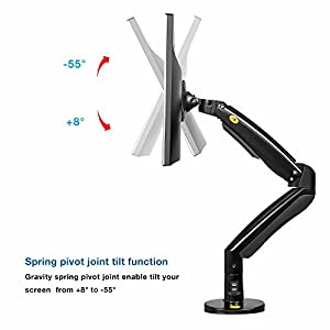 North Bayou Monitor Desk Mount Stand Fully Adjustable Computer Monitor Arm for 22'' -35'' Monitor with Gas Spring (black-single arm)