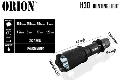 Ultimate Long Range Rechargeable Hog Hunting Light Bundle: Orion Predator H30 273 Yards Green LED Flashlight, High Clearance Scope Mount, Universal Barrel and Rail Mount, Remote Pressure Switch, 2 Sets Rechargeable Batteries, Smart Charger with A/C and Car Adapter