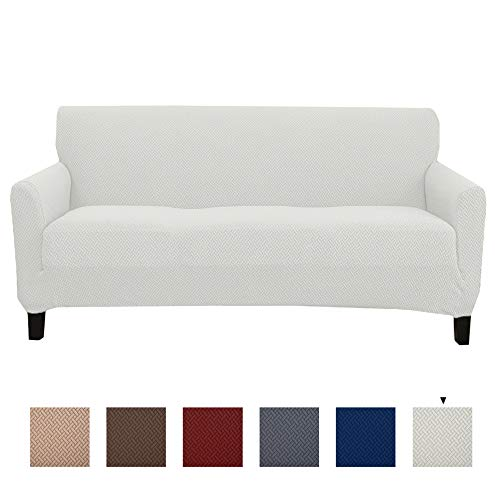 Great Bay Home Stretch Sofa Slipcover. Form Fit, Slip Resistant, Strapless Slipcover. Knitted Jacquard Stretch Couch Slipcover. Harlowe Collection (Sofa, Cream)
