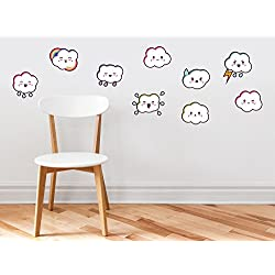 Cloud Emoji Fabric Wall Decals - Set Of 9 Emoticon Clouds - Non-toxic, Removable, Reusable, Respositionable