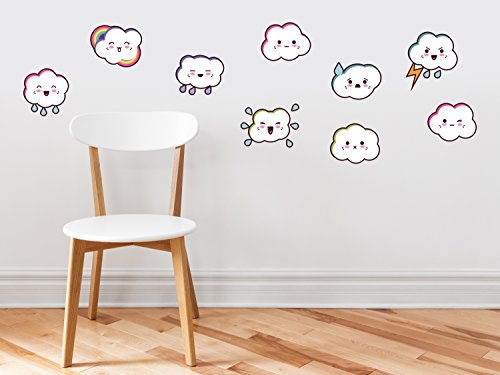 Cloud Emoji Fabric Wall Decals   Set Of 9 Emoticon Clouds   Non Toxic  Removable  Reusable  Respositionable