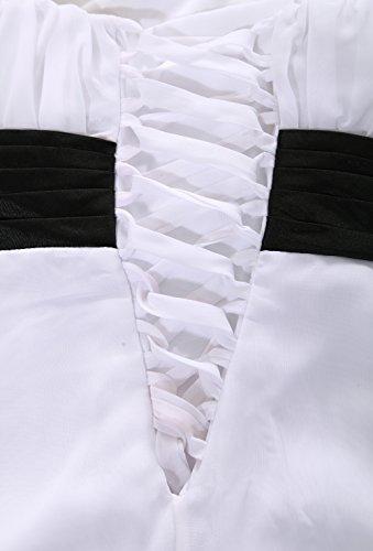 matrimonio breve Nero Sera damigella Cerimonia vestito di onore 11890 d' spalla Bianco abito ROBLORA Cocktail una xXqS4Aw77