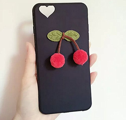 """Price comparison product image Fusicase fashion style New Ball Plush Beauty Cherry Pendant Fitted Back case Cover for iphone 6 / 6S 4.7"""" + 1 Stand As a Gift, Random color(Black)"""
