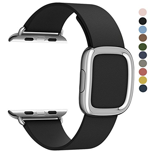 JSGJMY Apple Watch Band 42mm Genuine Leather Loop Original Modern Buckle With Magnetic Clasp Replacement Strap for iwatch Series1 Series2 (Black+Silver Buckle, 42mm Small Size) - Small Buckle