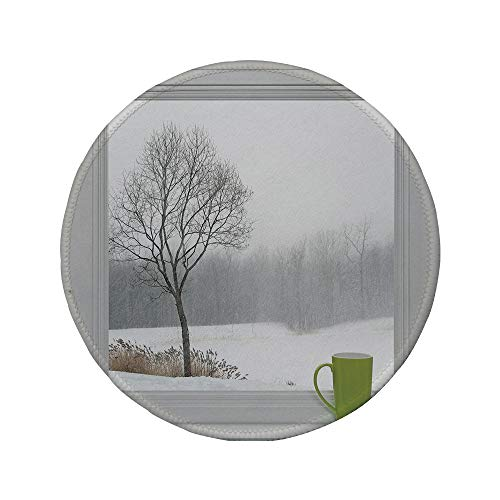 (Non-Slip Rubber Round Mouse Pad,Winter,Green Teacup on a Windowsill Forest Outdoors February Snowstorm Scenic Countryside Decorative,7.87