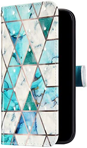 Uposao Kompatibel mit Samsung Galaxy Note 10 Plus Handyhülle Bunt Bling Glitzer Glänzend 3D Muster Tasche Schutzhülle Brieftasche Leder Hülle Klapphülle Flip Case Kartenfächer Magnet,Grün Marmor