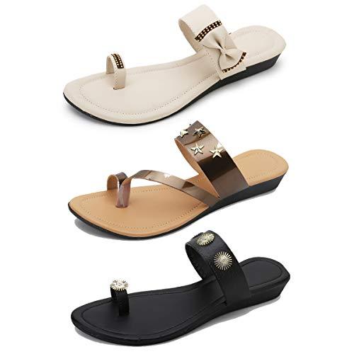 Myra Women's Combo of 3 Toe-strap Designer Casual Sandals    Designer Casual Party-wear Comfortable Sandals for Women – COM1209C
