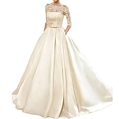 Welovedresses Women's Lace Wedding Dress 3/4 Sleeves Sweep Train Satin Bridal Gown WDL171113A