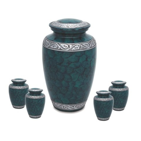 Middleton Green Adult Urn with 4 matching keepsake token Urns  by UrnsDirect2U