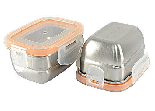 Mighty Hippo Rectangle Stainless Steel Mini Container - 2 Pack Set - Spill and Leak Proof/Perfect for Salad Dressings - Dips - Sauces - Condiments - Baby Food and Snacks/Adult and Kid Friendly