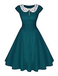 ACEVOG Women's Vintage Audrey Hepburn Style 1940's Rockabilly Lace Evening Dress