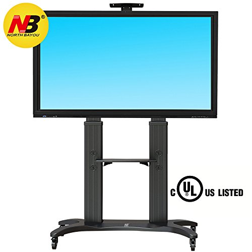 North Bayou Mobile TV Cart TV Stand with Wheels for 55 to 80 Inch LCD LED OLED Plasma Flat Panel Screens up to 125lbs AVF1800-70-1P (Black)