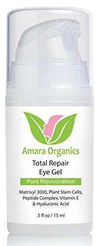 Amara Organics Eye Cream Gel for Dark Circles and Puffiness with Peptides, .5 fl. oz.
