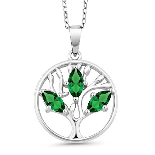 0.60 Ct Marquise Green Simulated Emerald 925 Sterling Silver Tree of Life Pendant With Chain