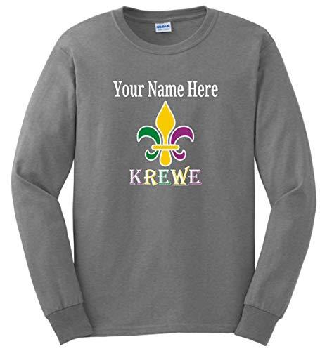 (Krewe Fleur-de-LYS Punny MardiGras Top Mardi Gras Clothes Custom Name Fleur-de-lis Krewe Customized Long Sleeve T-Shirt Large Large Sport Grey)
