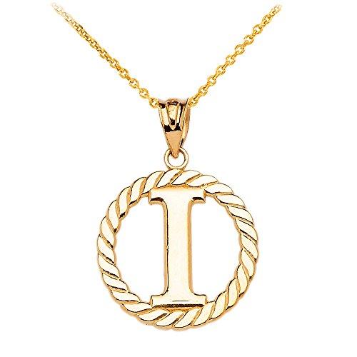 """Collier Femme Pendentif 14 Ct Or Jaune """"I"""" Initiale À Corde Cercle (Livré avec une 45cm Chaîne)"""