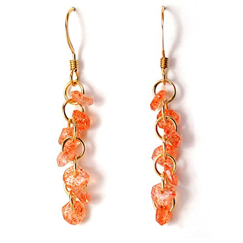 Tanzanian Confetti Sunstone Spiral Earrings in 14K Gold Filled Handcrafted Chainmail; One of a Kind