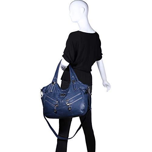 8 Cuir Main 1135 Sac Bleu À Cabas Femme Petites Poches Bandoulière Couche Angelkiss double Epaule Porte TZ8IqPnw6w