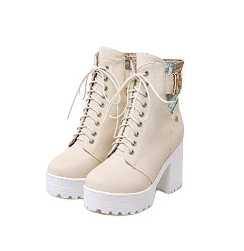 BalaMasa Ladies Color Matching Thick Bottom Heel Metal Ornament Imitated Leather Boots Beige 9uT66nt