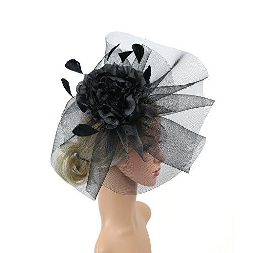 Merya Dress Kentucky Derby Fascinator Hats Feather Prom Cocktail Tea Party Hat Black-AA by Merya Dress (Image #1)
