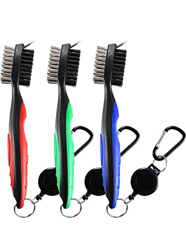 Jetec 3 Pieces Golf Double-sided Cleaning Brush Retractable Zipper Wire Groove Cleaning Tool by Jetec (Image #6)