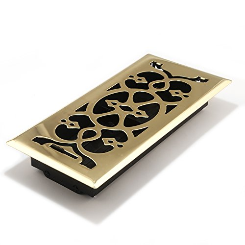 Brass Vent Cover - Accord AMFRPBV410 Floor Register with Victorian Design, 4-Inch x 10-Inch(Duct Opening Measurements), Polished Brass