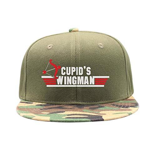 Men Women Camouflage Flat Hiphop Hat Lightweight Cupids Wingman Funny Saying