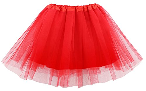 Simplicity Womens Classic Elastic 4 Layered Lined Tulle Tutu Skirt 80s Tutu, Red ()
