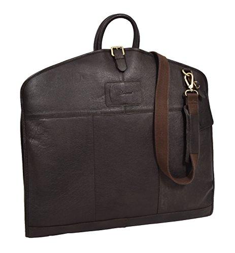 (Luxury Leather Suit Carrier Slimline Travel Garment Dress Bag Keswich Brown)