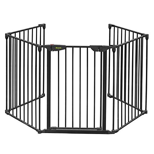 Bonnlo 122-Inch Wide Configurable Baby Gate Fireplace Safety Fence/Guard Adjustable 5-Panel Metal Play Yard for Toddler/Pet/Dog Christmas Tree Fence, Includes 4 Pack of Wall Mounts, Black