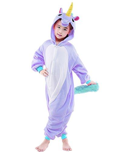Horses Dressed Up In Costumes (NEWCOSPLAY Children Unicorn Fleece Pajamas Unisex Cartoon Costume (125, Pegasus horse purple))