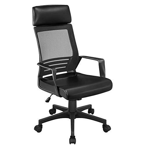 Yaheetech - Silla para juegos con respaldo de malla alta y asiento de cuero, silla ergonómica ajustable para computadora, silla de oficina con soporte lumbar y reposacabezas para juegos, color negro