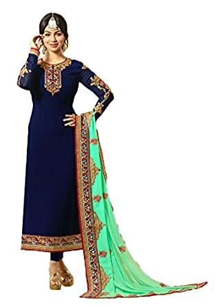 9738fdbfb0 VIVIKI Designer Women's Faux Georgette Embroidery Gown Latest Party Wear  Designe Straight Anarkali Semi Stitched Free