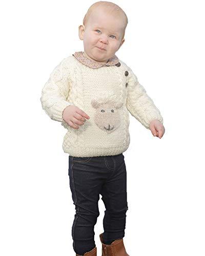 Baby Shepley Handknit Merino Wool Aran Crew Sweater (Medium) (Aran Knitting Patterns For Babies And Toddlers)