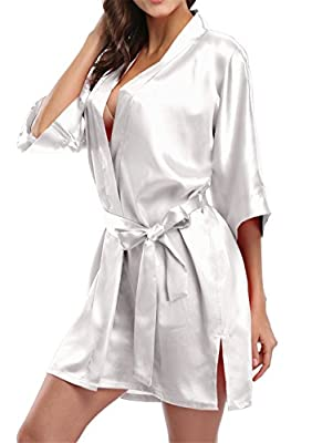 Giova Pure Color Satin Short Silky Bathrobe Sleepwear Nightgown Pajama