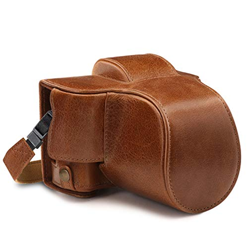 MegaGear Ever Ready Genuine Leather Camera Case Compatible with Fujifilm X-T100 (15-45mm)