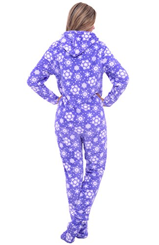 Del-Rossa-Womens-Fleece-Onesie-Hooded-Footed-Jumpsuit-Pajamas