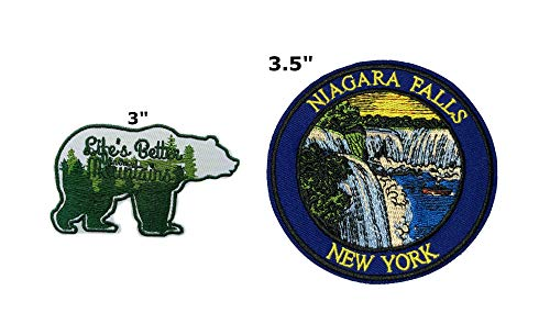 Life's Better in The Mountains and Niagara Falls National Park Series 2-Pack Embroidered Patch Iron-on Sew-on Explore Nature Outdoor Adventure Explorer Souvenir Travel Vacation Emblem Badge]()