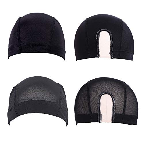 4 Pack Mesh Dome Wig Caps for Women and Men Stretchable U Part Wig Caps Spandex Dome Mesh Style Wig Caps for Making Wigs