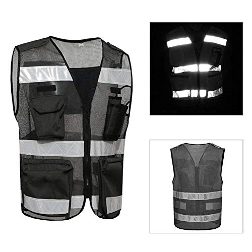 Workwear Visibility Cool Open-Mesh Multi Pocket Executive Waistcoat Vest Mens Mesh Hi-Vis Safety Reversible High Work Zip Premium Jacket Unique Design Pockets for Outdoor Night Work Wear ()