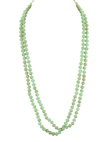 Christina Collection Extra Long Variegated Ombre Sea Foam Green Faceted Glass Bead Necklace Individually Knotted Claspless 58