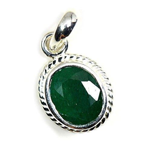 Jewelryonclick Emerald Design Pendant Charm 3 Carat Natural Genuine Oval Gemstone 92.5 Sterling - Oval Emerald Genuine Pendant Green