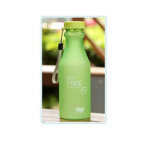 Doyime 550 ml fá cil Breaking botella con esmerilado para que no se rompa a prueba de goteo y portá tiles de agua botella con boquilla y tapa de plá stico para el embotellado Creative Protector de pantalla de cristal de color verde