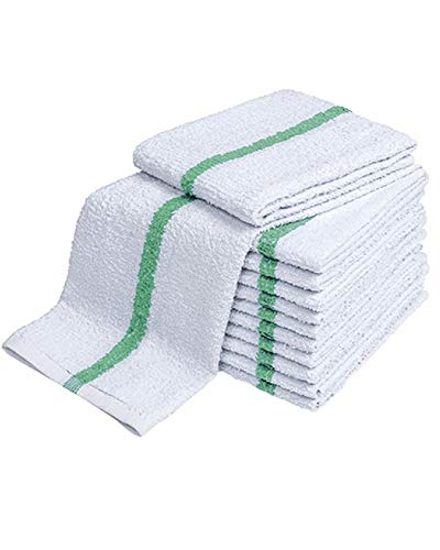 - 28oz Bar Mop Towels 16x19, 100% Cotton, Commercial Grade Professional Kitchen/Restaurant BarMop Towels (Green Stripe-48 Pack)